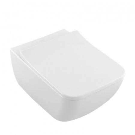 Villeroy & Boch Venticello Toaleta WC podwieszana 37,5x56 cm DirectFlush bez kołnierza wewnętrznego lejowa z powłoką CeramicPlus, biała Weiss Alpin 4611R0R1