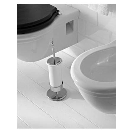 Globo Paestum Pojemnik ze szczotką do WC stojący 10x10x45 cm, biały/chrom PASC43