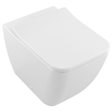 Villeroy & Boch Venticello Toaleta WC stojąca 37,5x56 cm lejowa DirectFlush bez kołnierza wewnętrznego z powłoką CeramicPlus, biała Weiss Alpin 4613R0R1