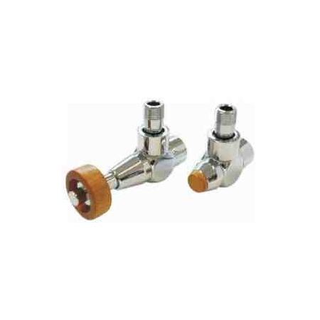 Schlosser Prestige zestaw termostatyczny kątowy chrom 1/2 x M22x1,5, Głowica z drewnianym pokrętłem stożkowym, korpus zaworów Exclusive, złączka 15x1 601700204