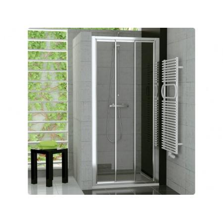 Ronal Sanswiss Top-Line Drzwi przesuwane trzyczęściowe 100x190 cm, profile białe szkło przezroczyste TOPS310000407