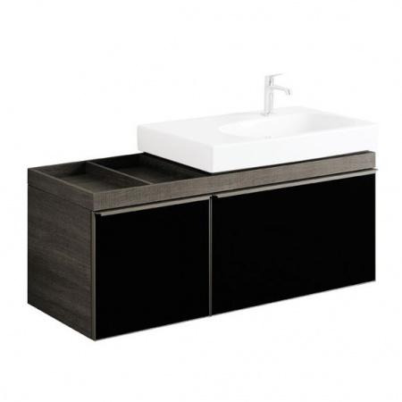 Keramag Citterio Szafka podumywalkowa wisząca 118,4x55,4x50,4cm, dąb czarny/szkło czarne 835521000