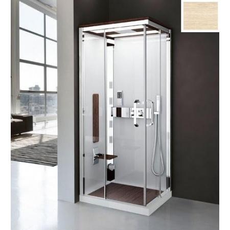 Novellini Nexis 1 Kabina prysznicowa kwadratowa z dachem,sauną i deszczownicą 90x90x234 cm, dąb NEXA99M5-1KQ