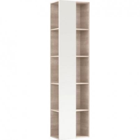 Keramag Citterio Szafka wisząca boczna wysoka 40x160x25 cm z lustrem i z półkami, dąb jasny/szkło taupe 835100000