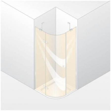 Huppe Enjoy Elegance Drzwi skrzydłowe ze stałymi segmentami, 1-częsciowe, montaż na brodziku o promieniu 50 i wymiarach 90x100 - Mocowanie lewe srebrny matowy Szkło przezroczyste 3