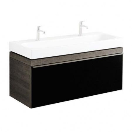 Keramag Citterio Szafka podumywalkowa wisząca 118,4x55,4x50,4 cm, dąb czarny/szkło czarne 835121000