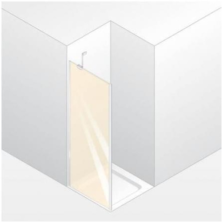 Huppe Enjoy Elegance Ścianka boczna do drzwi wahadłowych, mocowanie prawe, montaż na równi z posadzką - 90/200 biały Szkło Bubbles Anti-Plaque 3T2808.055.377