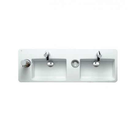 Laufen Alessi Dot Umywalka wisząca podwójna 144x49 cm z 2 otworami na baterie biała H8149054001041