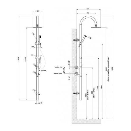 Gessi Minimali Zestaw natryskowy termostatyczny szczotkowany nikiel 23473.142 / 23473142