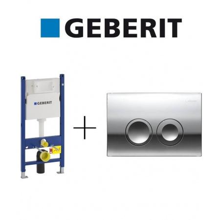 Geberit Zestaw Duofix Basic Spłuczka podtynkowa WC do ścian gipsowych + Delta 21 Przycisk do spłuczki podtynkowej, 111.153.00.1 + 115.125.21.1