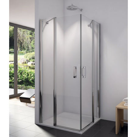 Ronal Swing-Line Kabina prysznicowa, wejście narożne podwójne, część 1/2 mocowanie prawe 75x195 cm, profile srebrne mat, szkło cieniowane niebieskie SLE2D07500154