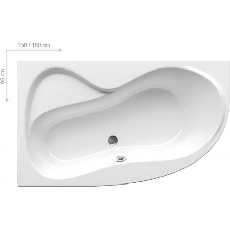 Ravak Rosa 95 Wanna asymetryczna 150x95 cm lewa, biała C551000000