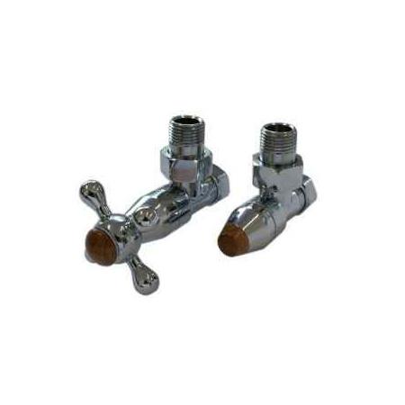 Schlosser Elegant Style zestaw grzejnikowy kątowy chrom z drewnem GW M22x1,5 x 15mm Cu 604800007