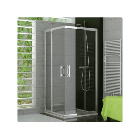Ronal Top-Line Kabina prysznicowa, wejście narożne z drzwiami skrzydłowymi - Mocowanie prawe 75 x 190cm srebrny matowy Szkło Master Carre (TED2D07500130)