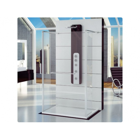Ronal Fun Ścianka prysznicowa jednoczęściowa z dwoma ściankami ruchomymi - 120 x 200cm Chrom Pas satynowy poziomy (FUT212005051)