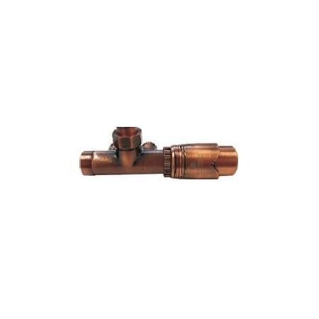 Schlosser Zestaw - przyłącze jednootworowe 1/2xM22x1,5 z rurką kolektora, prawe antyczna miedź (602100069)