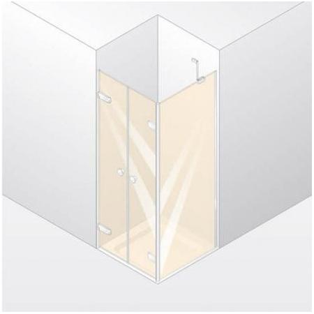 Huppe Enjoy Elegance Drzwi wahadłowe do ścianki bocznej, mocowanie lewe, montaż na brodziku - 80/200 biały Szkło Sand Plus 3T2201.055.315