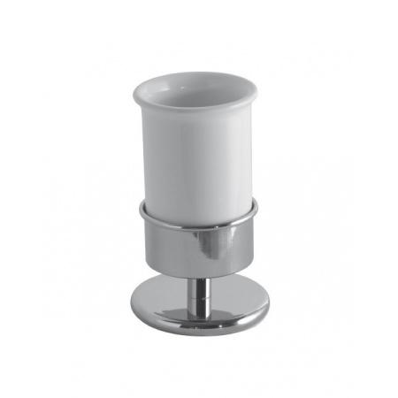 Globo Paestum Kubek ceramiczny stojący 10x10x15 cm, biały/chrom PABC41