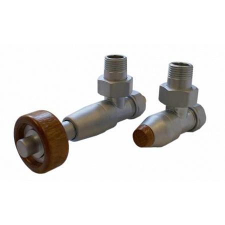 Schlosser Prestige zestaw termostatyczny kątowy ½ x M22x1,5 Satyna, Głowica z drewnianym pokrętłem walcowym GW M22x1,5 x GW 1/2 Stal 604500099