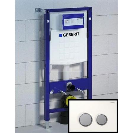 Geberit Zestaw Duofix Stelaż podtynkowy do ścian gipsowych UP320 + Sigma 20 Przycisk uruchamiający do spłuczek, 111.320.00.5 + 115.778.KL.1
