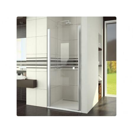 Ronal Swing-Line Drzwi prysznicowe jednoczęściowe - 75 x 195 cm biały Szkło cieniowane niebieski (SL107500454)