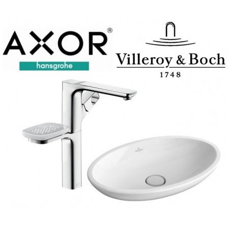 Axor Urquiola Jednouchwytowa bateria umywalkowa, chrom + Villeroy & Boch Loop&Friends Umywalka nablatowa 58,5x38 cm, biała 11034000+51510001