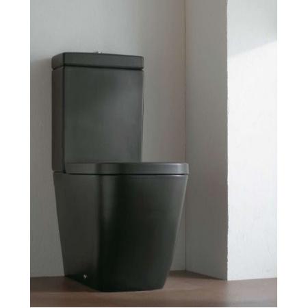 Globo Stone Miska WC stojąca do kompaktu 66x36x40 cm z dolnopłukiem, czarna matowa SS003.AR