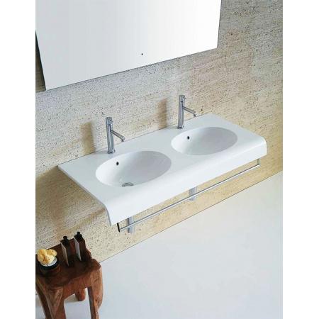 Globo Bowl Umywalka wisząca podwójna 110x50 cm biała BP110.BI