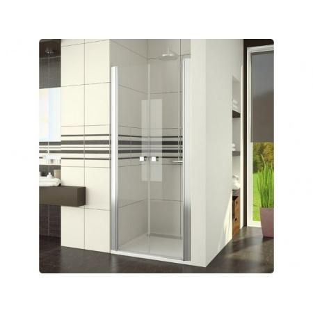 Ronal Swing-Line Drzwi prysznicowe dwuczęściowe - 70 x 195 cm srebrny matowy Szkło cieniowane niebieski (SL207000154)