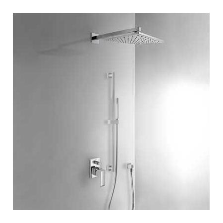 Tres Cuadro-Tres Zestaw prysznicowy podtynkowy z deszczownicą i z dźwignią, chrom 1.06.985
