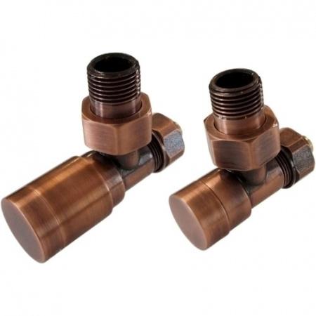 Schlosser Elegant zestaw grzejnikowy kątowy ze złączką do stali - antyczna miedź 6042 00104
