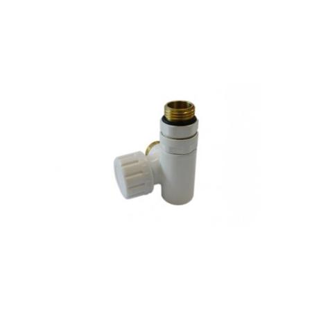 Schlosser zawór termostatyczny do grzałki prawy, biały, ze złączką na Stal 6049 00003