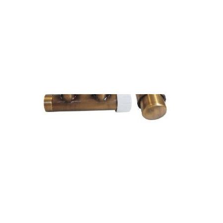 Schlosser Zestaw - zawór termostatyczny z głowicą termostatyczną Duo-plex 3/4 x M22x1,5 prawy antyczny mosiądz+Nyple (602100021)