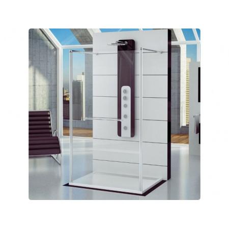 Ronal Fun Ścianka prysznicowa wolnostojąca - 140 x 200 cm Chrom Pas satynowy poziomy (FUS214005051)