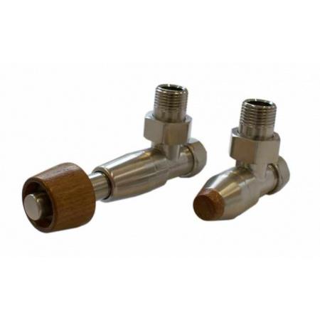 Schlosser Prestige zestaw termostatyczny kątowy ½ x M22x1,5 Stal, Głowica z drewnianym pokrętłem walcowym GW M22x1,5 x GW 1/2 Stal 604500108