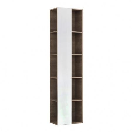 Keramag Citterio Szafka wisząca boczna wysoka 40x160x25 cm z lustrem i z półkami, dąb czarny/szkło czarne 835101000