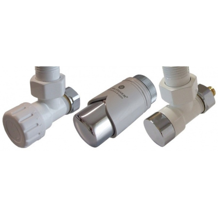 Schlosser Elegant Zestaw zaworów termostatycznych biały-chrom wersja kątowa (604200016)