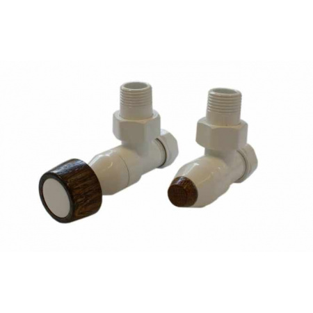 Schlosser Prestige zestaw grzejnikowy kątowy ½ x M22x1,5 Biały, Walcowe grube pokrętło drewniane GW M22x1,5 x GW 1/2 Stal 604500009