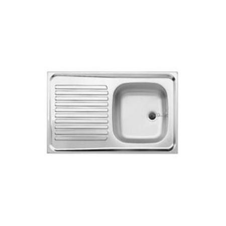 Blanco R-ES 8 x 5 Zlewozmywak stalowy jednokomorowy 80x50 cm z ociekaczem, bez korka automatycznego, stalowy matowy 510499