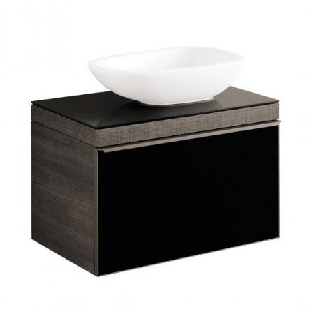Keramag Citterio Szafka podumywalkowa wisząca 73,4x54,3x50,4 cm, dąb czarny/szkło czarne 835276000