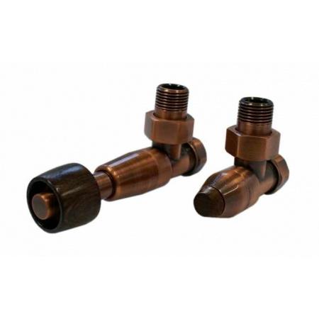 Schlosser Prestige zestaw termostatyczny kątowy ½ x M22x1,5 Antyczna miedź, Głowica z drewnianym pokrętłem stożkowym GW M22x1,5 - 16x2 PEX 604500110