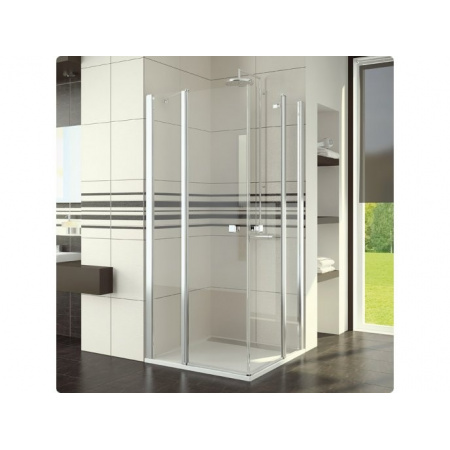 Ronal Swing-Line Kabina prysznicowa, wejście narożne podwójne, część 1/2 - Mocowanie prawe 90 x 195 cm Chrom Pas satynowy poziomy (SLE2D09005051)