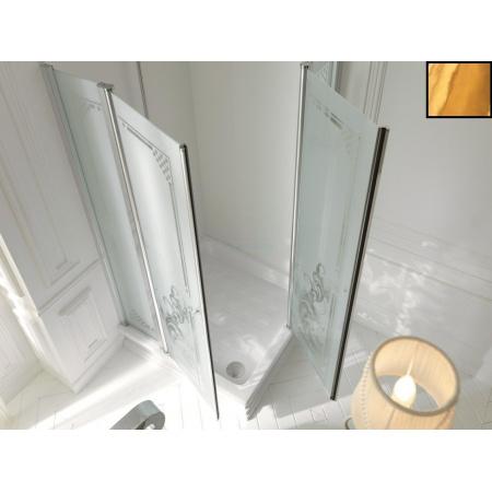 Kerasan Retro Kabina prysznicowa kwadratowa 90x90 cm, złota 9145N1
