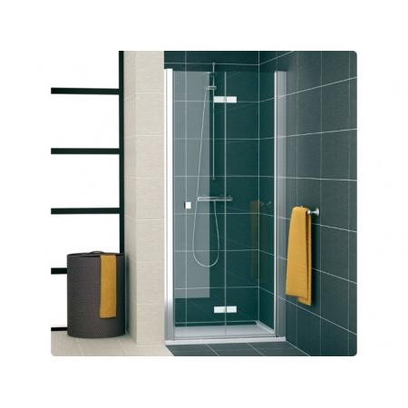 Ronal Swing Line F Drzwi prysznicowe dwuczęściowe składane - Mocowanie prawe 75 x 195 cm biały Pas satynowy poziomy (SLF1D07500451)
