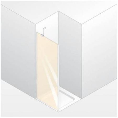 Huppe Enjoy Elegance Ścianka boczna do drzwi wahadłowych, mocowanie lewe, montaż na brodziku - 75/200 biały Szkło Bubbles Anti-Plaque 3T2701.055.377