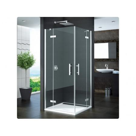 Ronal Pur Kabina prysznicowa narożna, część 1/2, drzwi dwuczęściowe - Mocowanie prawe 100 x 200cm Chrom Szkło cieniowane niebieski (PUE2PD1001054)
