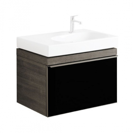 Keramag Citterio Szafka podumywalkowa wisząca 73,4x55,4x50,4 cm, dąb czarny/szkło czarne 835176000