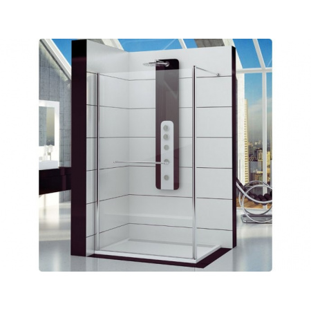 Ronal Fun Ścianka prysznicowa jednoczęściowa - 80 x 200cm Chrom Pas satynowy poziomy (FUN208005051)