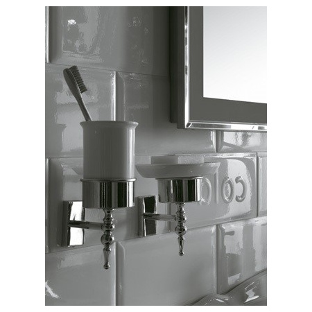 Globo Paestum Kubek ceramiczny na szczoteczki do zębów 8x20 cm, biała/chrom PABC40