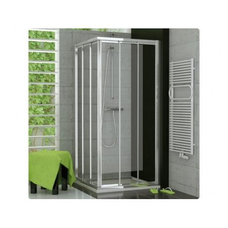 Ronal Sanswiss Top-Line Kabina prysznicowa narożna z drzwiami trzyczęściowymi rozsuwanymi 90x190 cm drzwi prawe, profile białe szkło przezroczyste TOE3D09000407